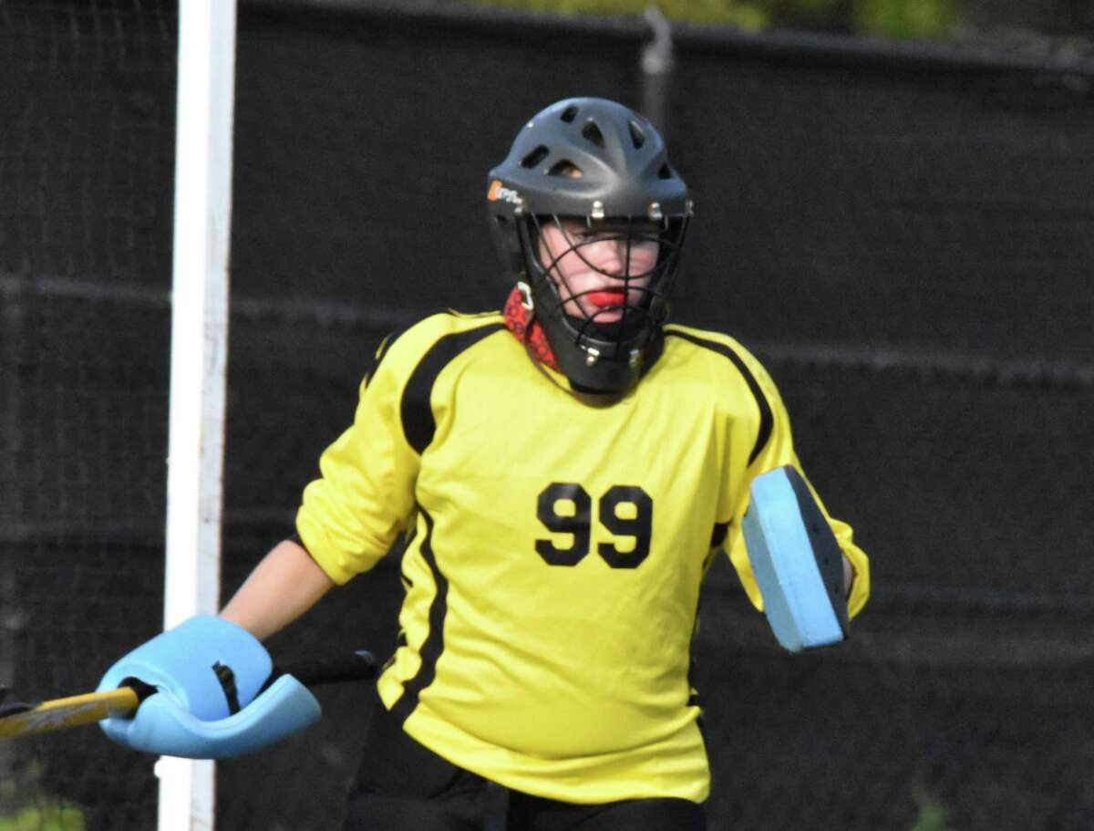 Trumbull goalie Jenny Flynn made 17 saves in the Eagles' 3-0 loss to New Canaan.
