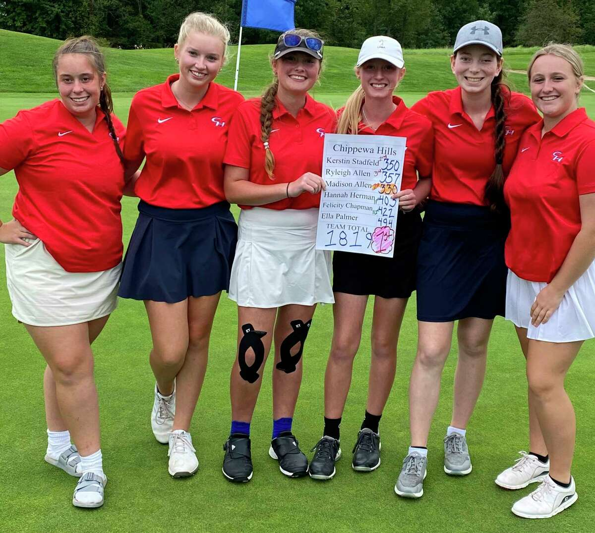 From left: Chippewa Hills golfers Hanna Herman, Kerstin Stadtfeld, Ryleigh Allen, Madison Allen, Felicity Chapman and Ella Palmer celebrate their league title on Tuesday. (Courtesy photo)
