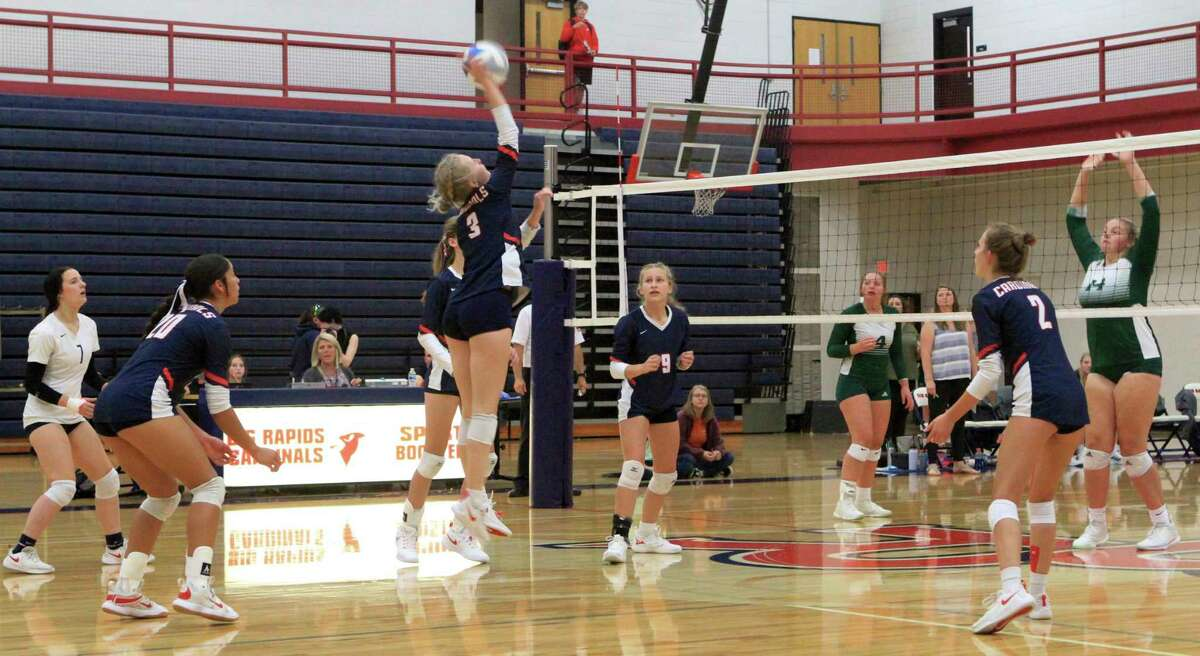 Big Rapids junior Jenna Williams rises up to send the ball over the net during Tuesday's volleyball match between BR and Central Montcalm at Bigg Rapids High School. (Pioneer photo/Joe Judd)