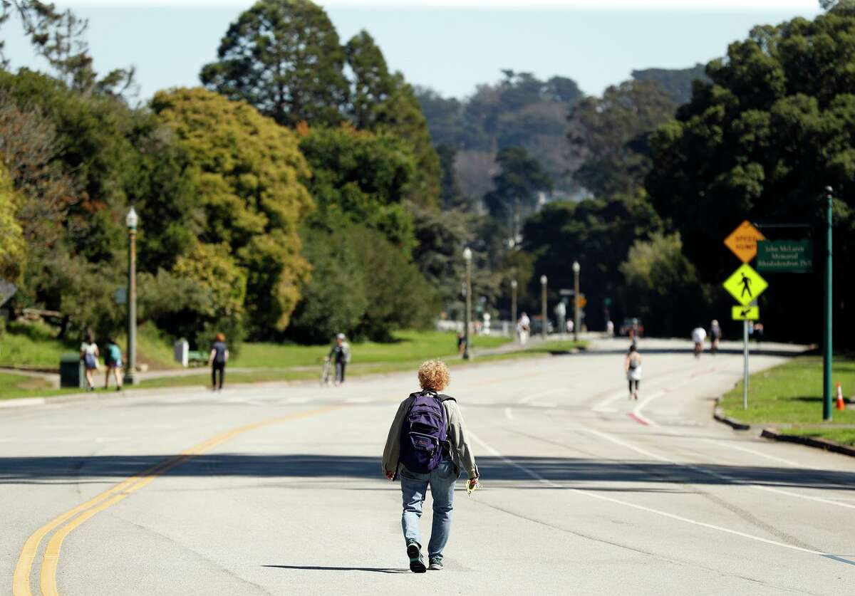 Vehicular traffic is currently prohibited on John F. Kennedy Drive in the eastern half of Golden Gate Park.