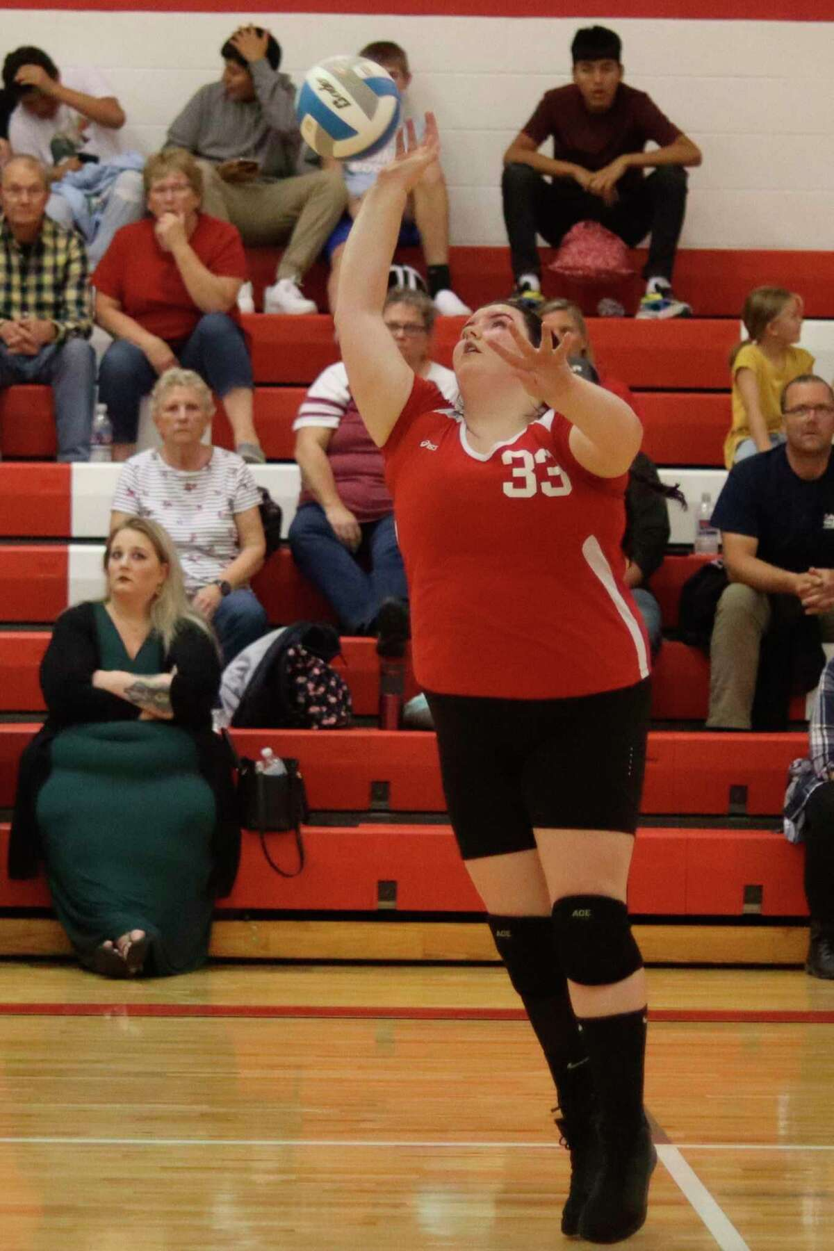 Makayla Omar drive the ball over the net for the Lakers on Sept. 21. (Robert Myers/News Advocate)