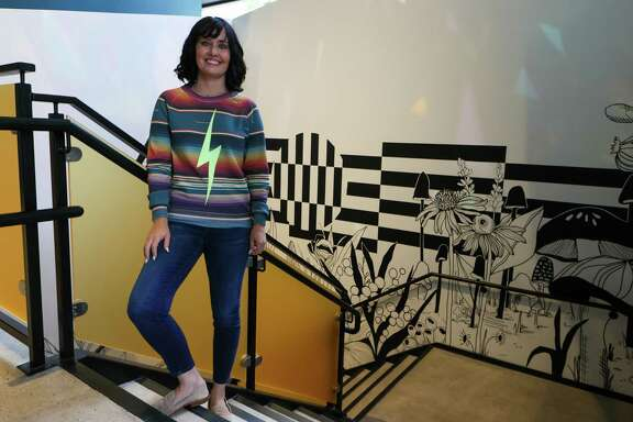 Nicole Jensen, co-founder of Hopscotch Art Gallery at 711 Navarro St., Suite 100, on Thursday, Sept. 16, 2021.