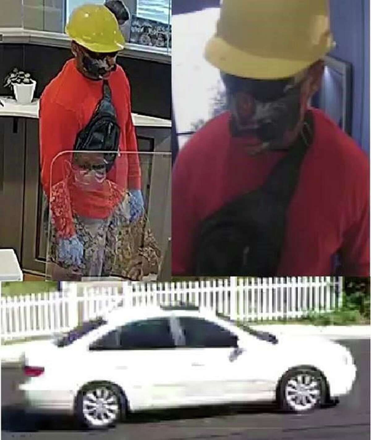 Police are looking for this man who they say robbed a bank in Norwalk Tuesday afternoon. He fled the bank in this white sedan without plates.