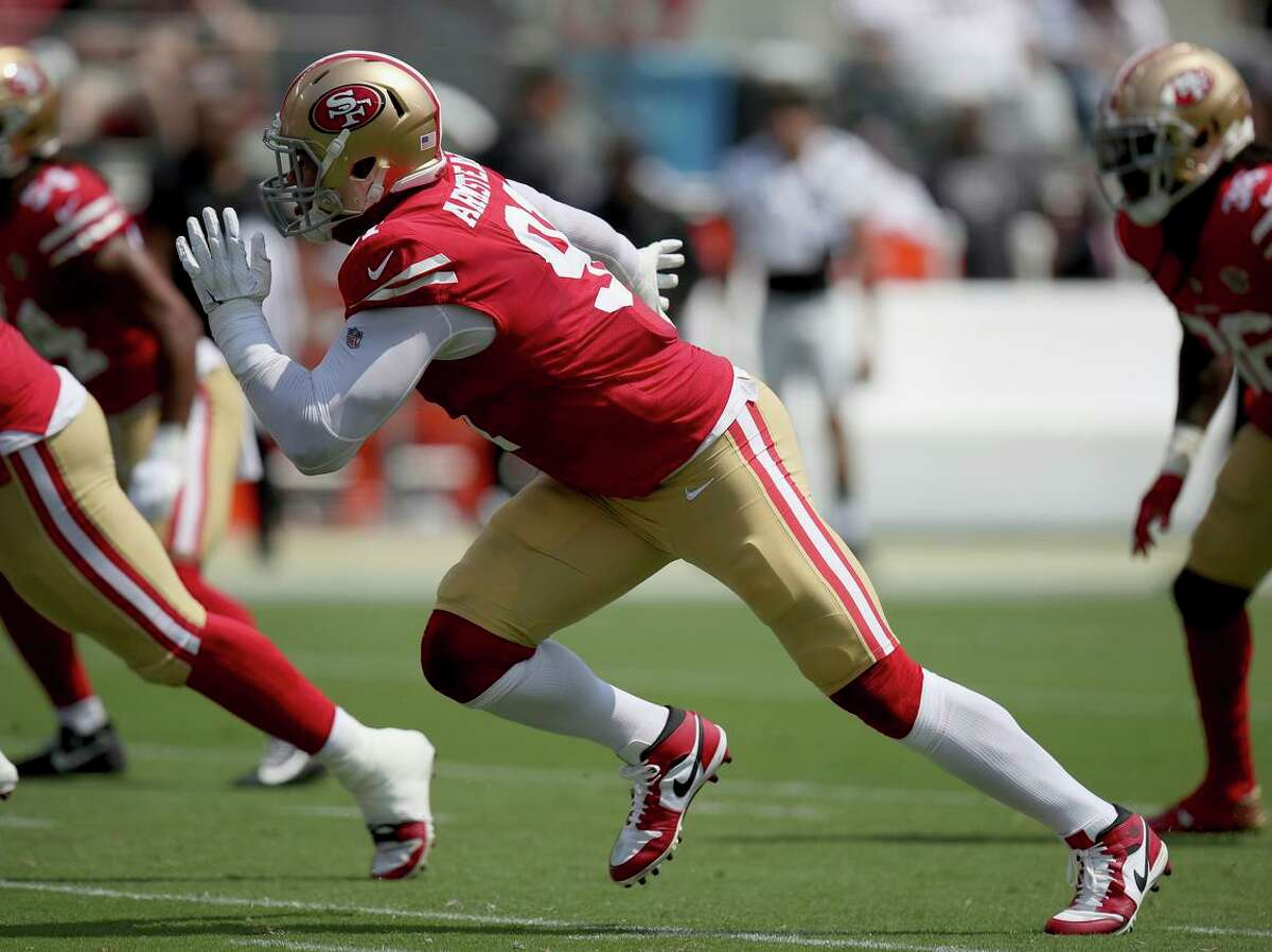 49ers defensive end Arik Armstead, seen during a preseason game against the Las Vegas Raiders in August, had a deceptively good game against the Philadelphia Eagles on Sunday.