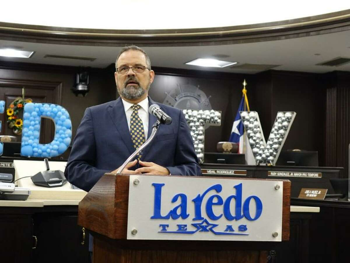 City Manager Robert Eads speaks about Laredo TV on Tuesday, the rebranding of the former Public Access Channel as well as new programming for municipal TV channels.