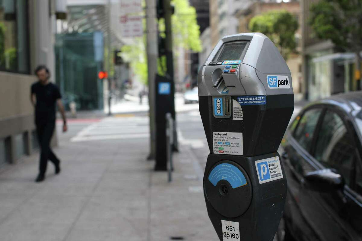 Detail of a parking meter on Sansome St. in the Financial District on Saturday, April 24, 2021, in San Francisco, Calif.