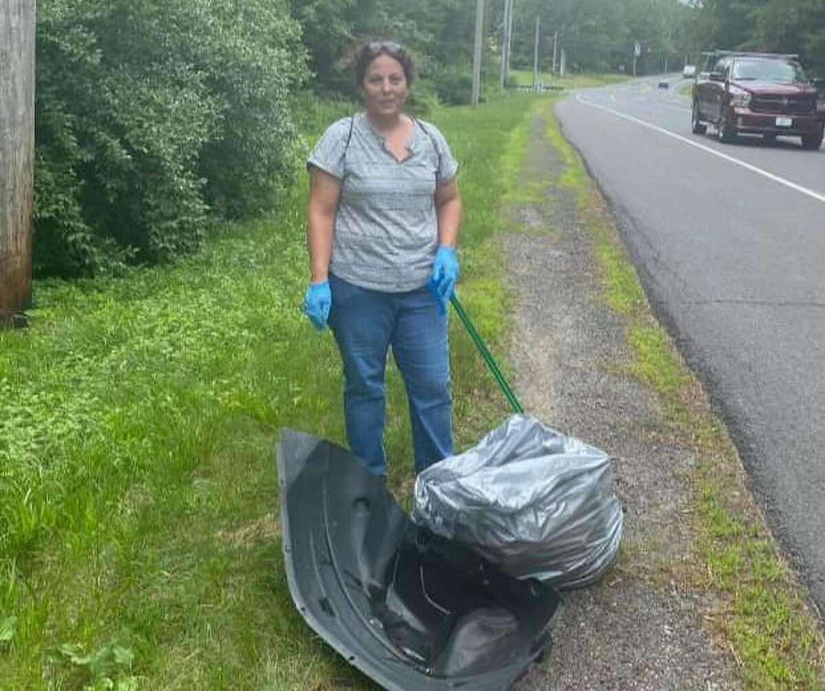 Volunteer Elizabeth Buchetto during a recent clean-up work session.