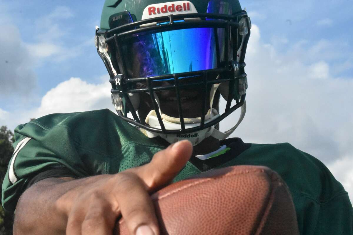 Norwalk senior running back Cam Edwards poses for a photo during football practice at Nathan Hale Middle School, Norwalk on Tuesday, Sept. 21, 2021.