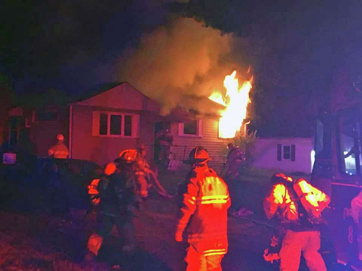 A photo of a fire at an Ann Road house in South Windsor, Conn., on Tuesday, Sept. 21, 2021, taken by retired Deputy Fire Chief Tom Bengtson.
