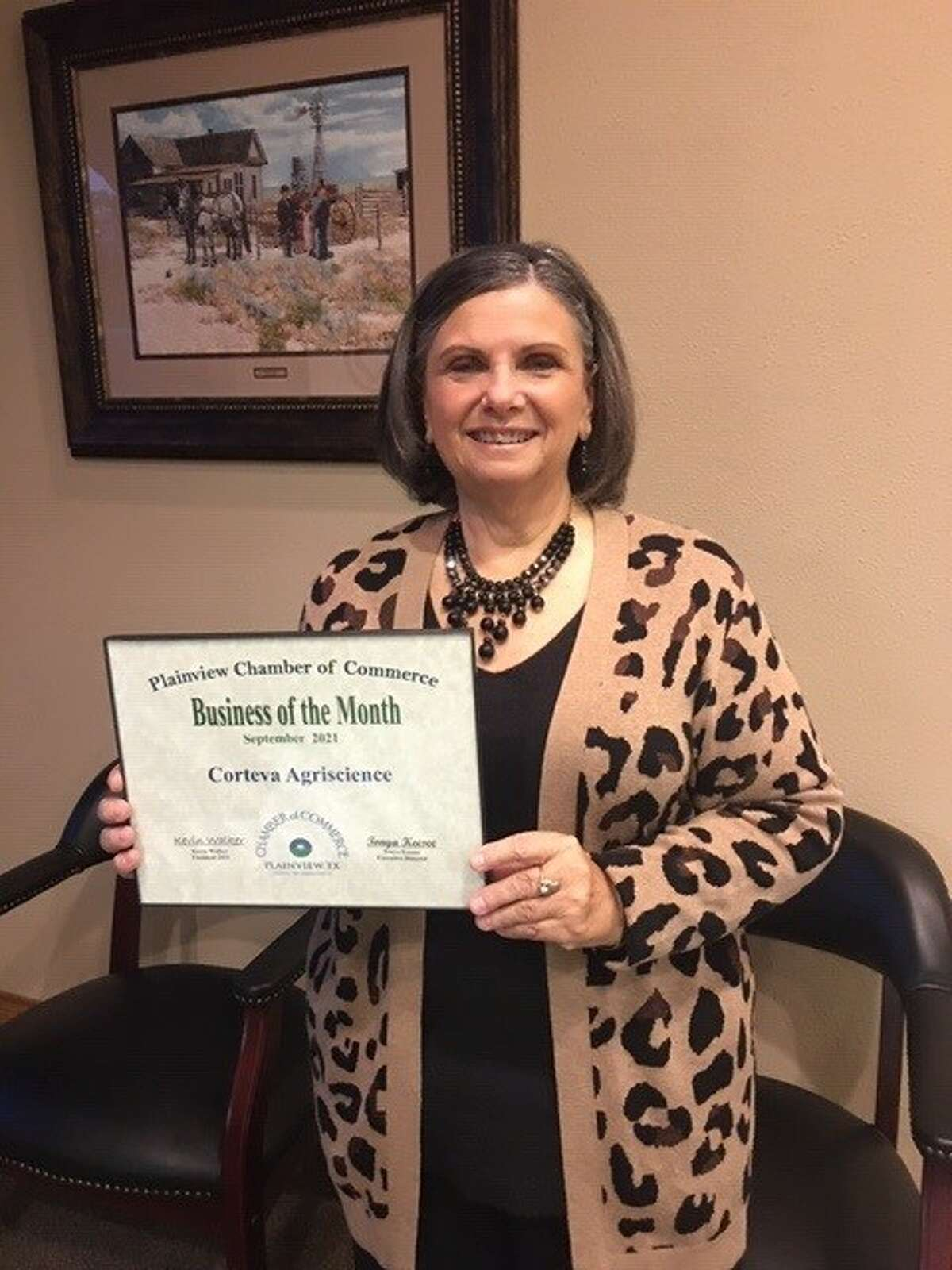 The Plainview Chamber of Commerce recognized Corteva agriscience Tuesday as September Business of the Month. Renee Crane, administrative supervisor for the Plainview branch, was present to accept the recognition on behalf of the business.