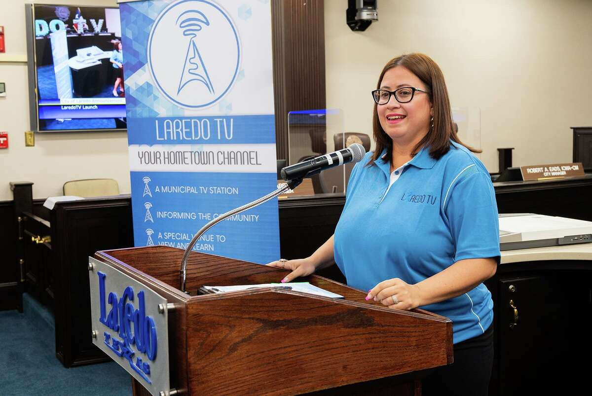 City of Laredo Communications Administrator Noraida Negron introduces the rebranded public access channels as Laredo TV, Tuesday, Sept. 21, 2021 at the City Council Chambers.