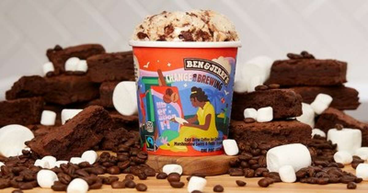 Ben & Jerry's new flavor Change is Brewing is a sweet combination of cold brew coffee ice cream, marshmallow swirls and fudge brownies.