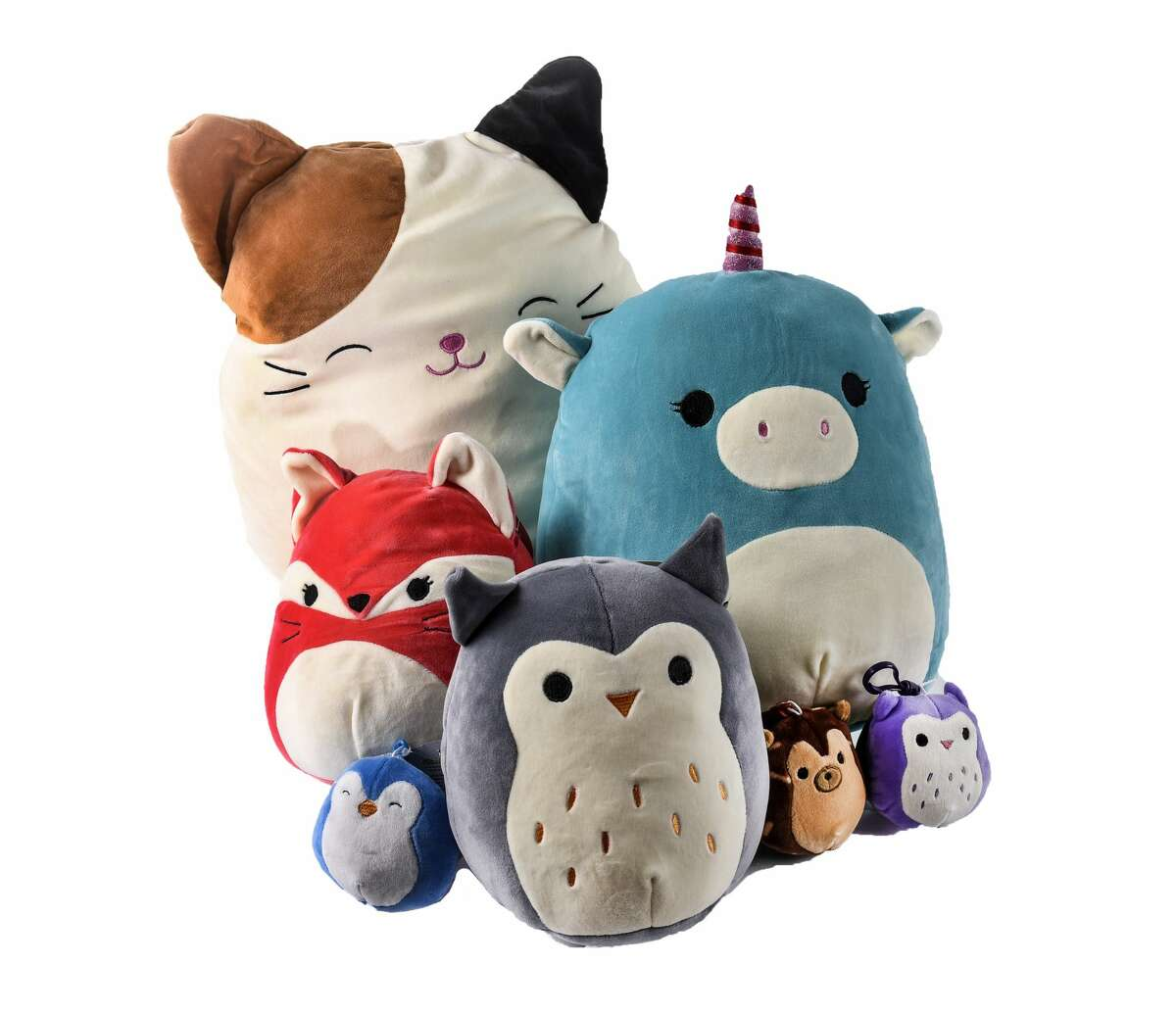 An assortment of Squishmallows by Kellytoy.