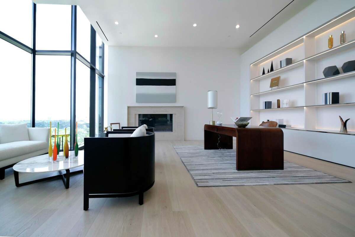 The study/office in the penthouse condo at The River Oaks Monday, Sep. 20, 2021 in Houston, TX. The unit spans 6,200 square feet, plus 2,206 on the balcony and terrace, and is listed for $8.99 million making it one of the most expensive in Houston.