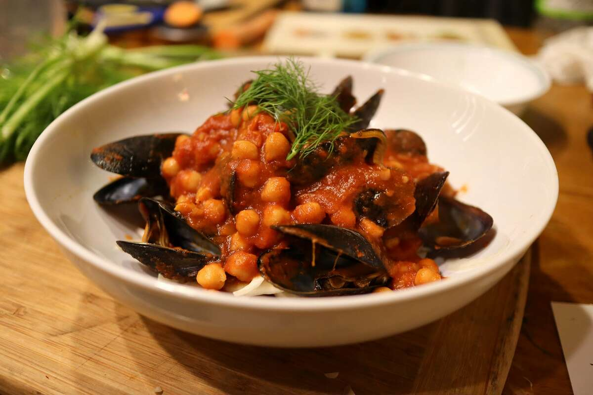 Mussels with chickpeas in spicy chile sauce is likely to be among the seafood dishes at Cafe Euphoria, an under-development restaurant, arts venue and co-working space on Troy's Monument Square that will be for the transgender and gender-nonconforming communities and their allies. An opening in late fall is projected.