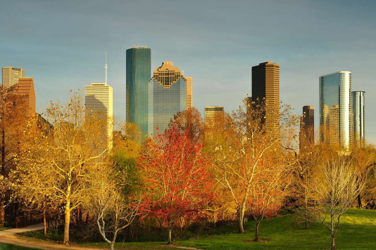 A view of Houston's skyline at sunset from Buffalo Bayou Park.