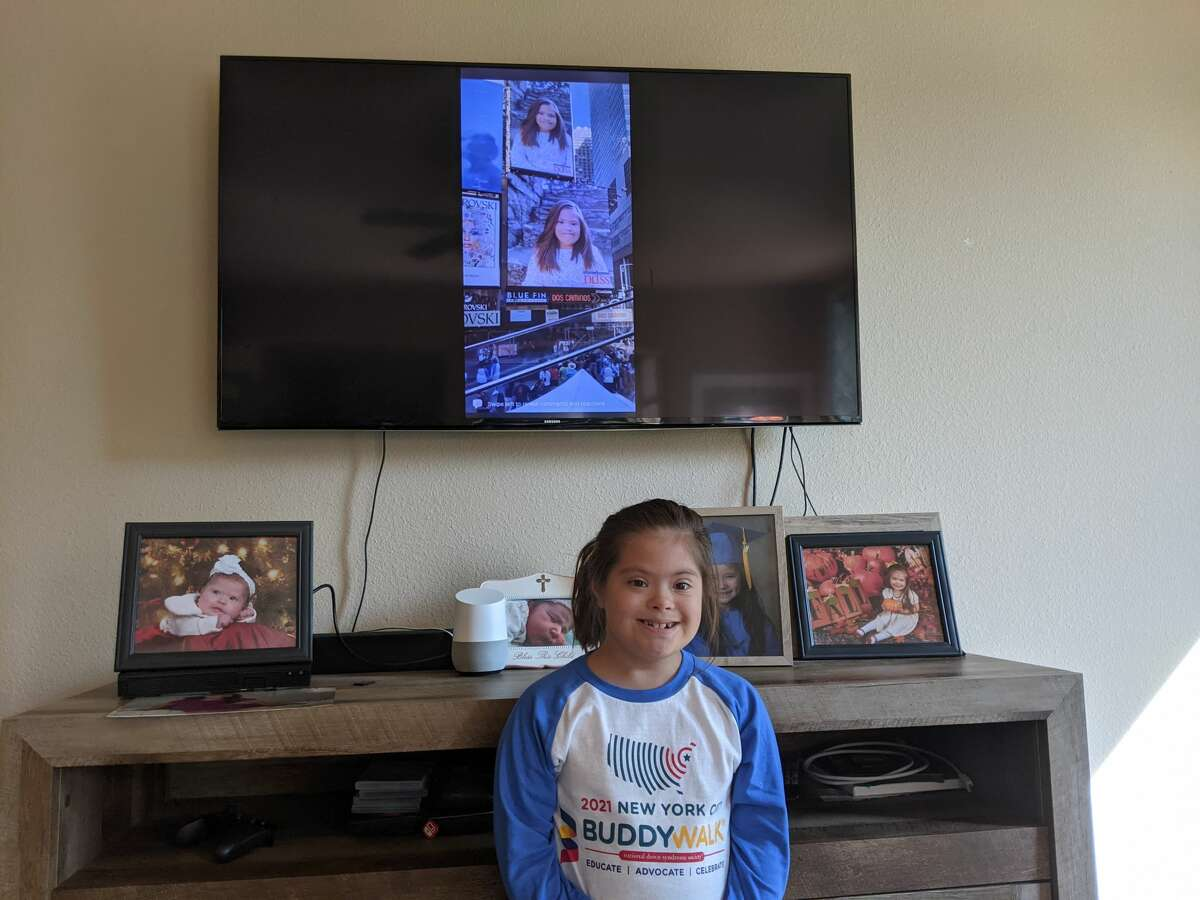 A photo of Audrey Diaz, 8, appeared on a Times Square billboard on Sept. 18 for Down syndrome awareness.