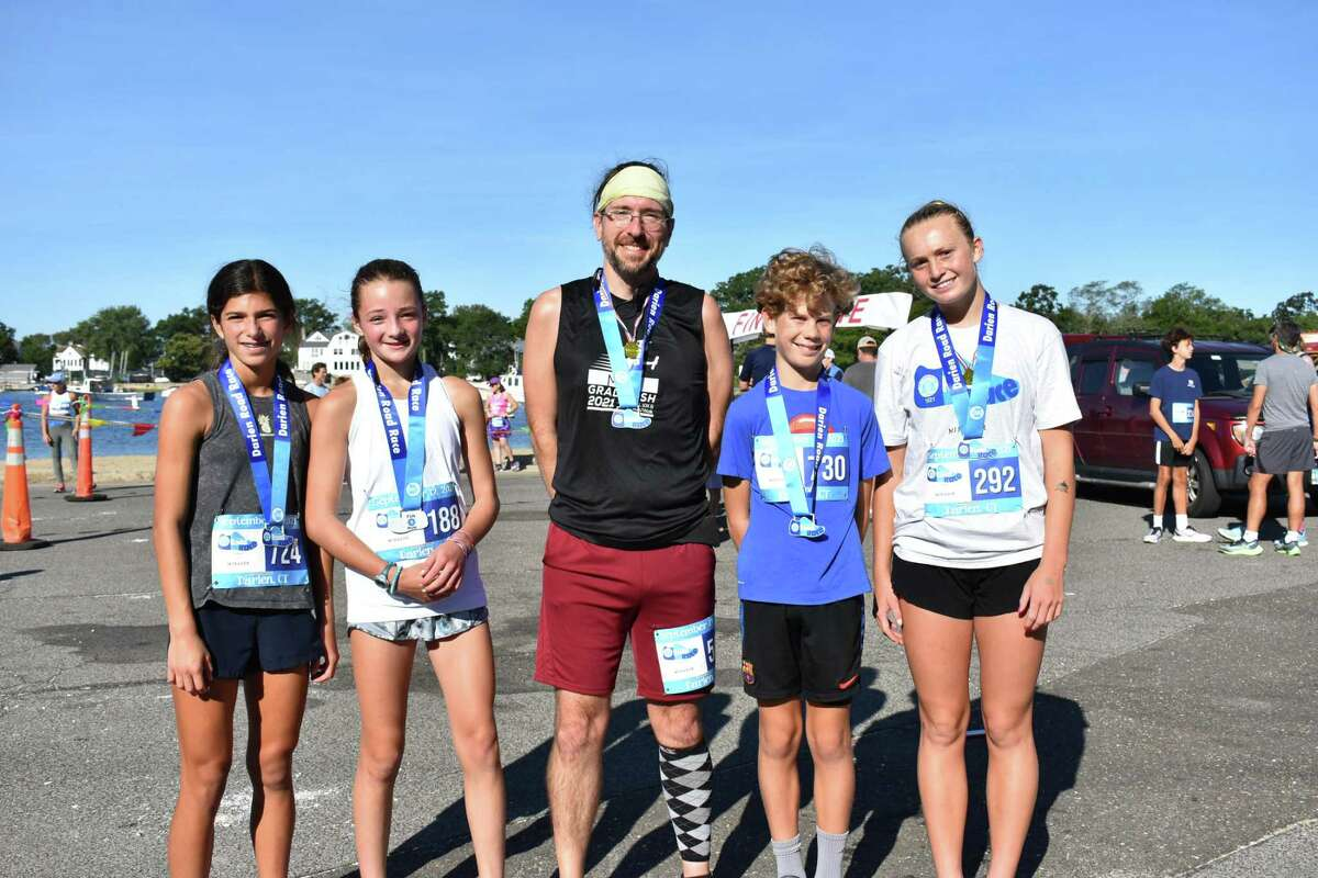 1.5-mile Fun Run top finishers Isabella Lonergan, Libby Meyer, Eric Ciocca, Liam Kelly and Sadie Stafford.