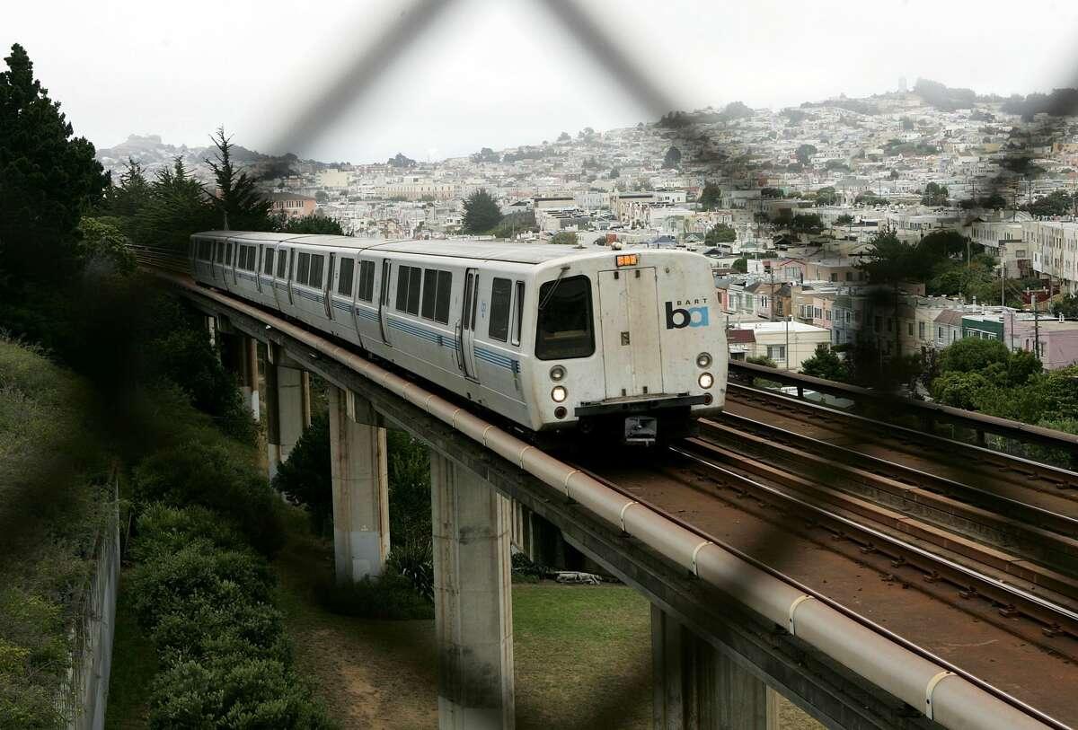 SAN FRANCISCO - JULY 05: A Bay Area Rapid Transit (BART) train is seen through a fence July 5, 2005 in San Francisco, California.