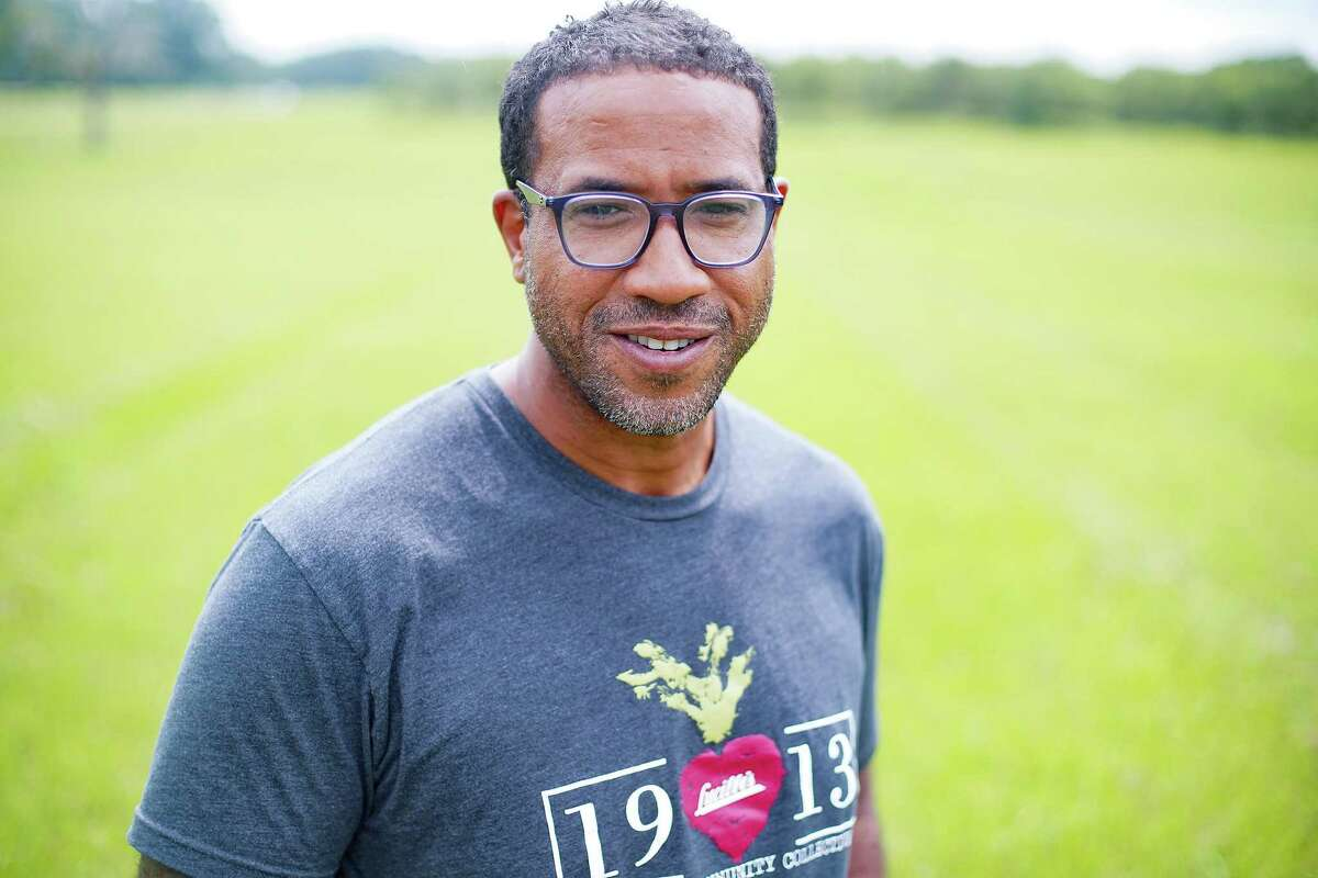 Chef Chris Williams of Lucille's restaurant in Houston stands in Bates Allen Park, where he will create a 10-acre produce farm for the area in Kendleton on Thursday, Aug. 5, 2021.