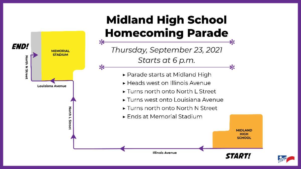 """Midland ISD released a new route for this year's Midland High homecoming parade due to construction along """"A"""" Street."""