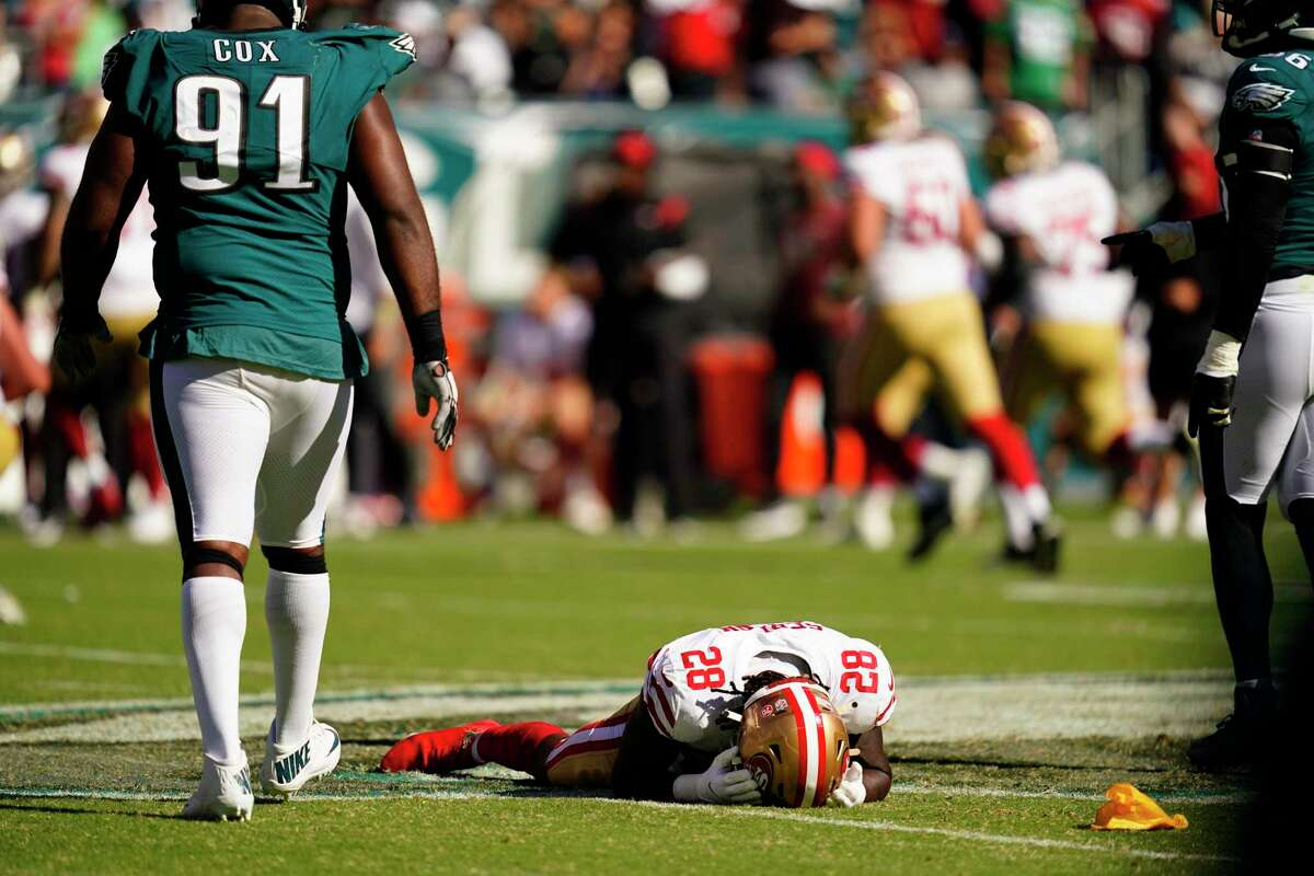 San Francisco 49ers running back Trey Sermon reacts after a flag was called on the play during the second half of an NFL football game against the Philadelphia Eagles on Sunday, Sept. 19, 2021, in Philadelphia.