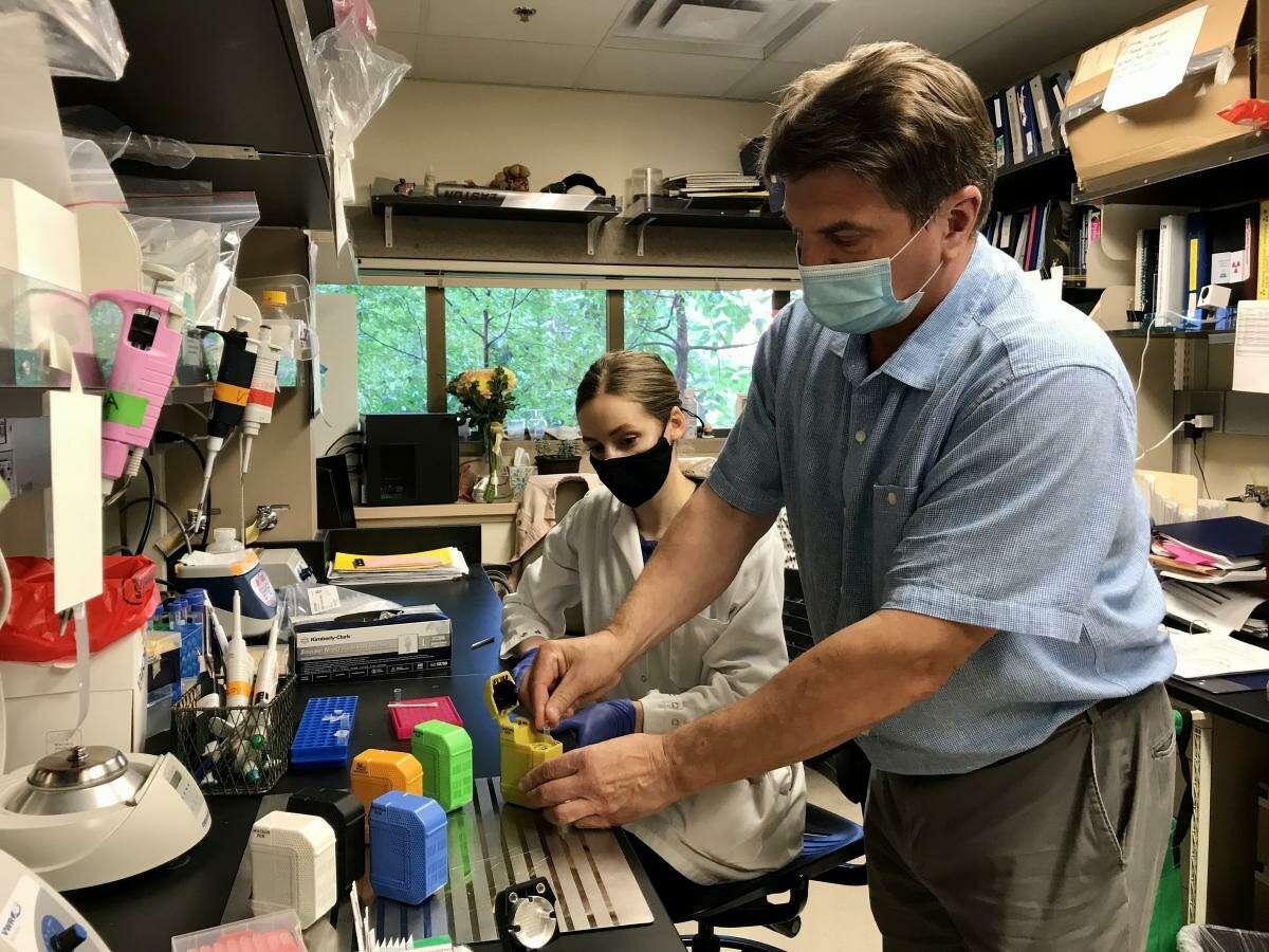 Dr. Evgeni Sokurenko and research scientist Lydia Larson prepare a rapid COVID-19 variant test.