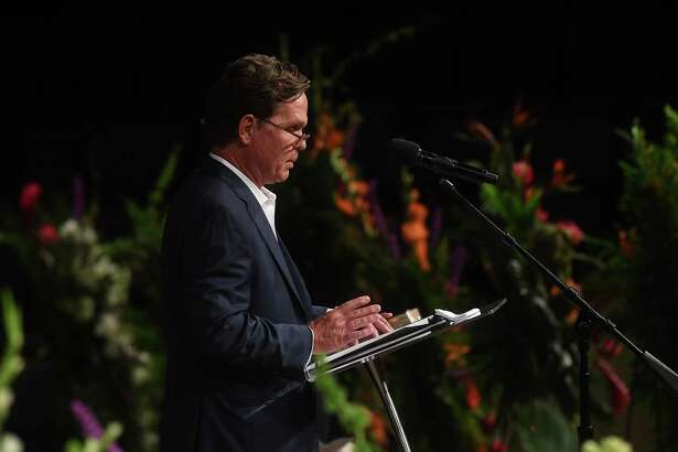 Will Leonard shares his memories with those gathered at the funeral service for W.L. Pate at One City Church Friday. Photo made Friday, June 25, 2021 Kim Brent/The Enterprise
