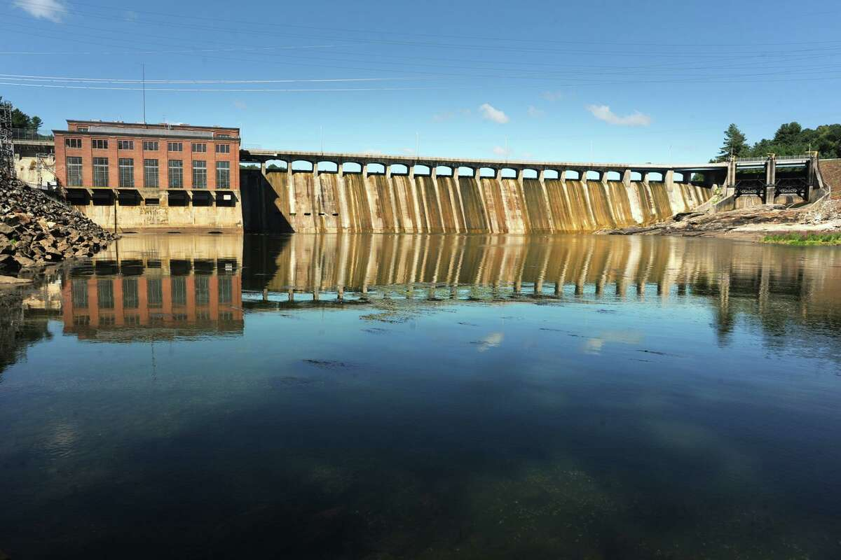 The Stevenson Dam, from the west shore of the Housatonic River in Monroe, Conn. Aug. 30, 2017. Construction of the dam began in 1917.