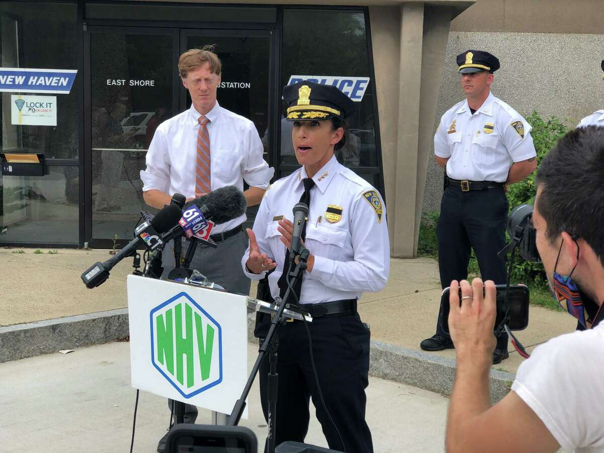 Interim Chief Renee Dominguez speaks at a press conference Wednesday in which city officials urged people not to come to New Haven for the upcoming East Coastin' motorcycle event.