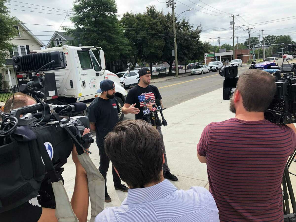 City officials Wednesday urged people not to come to New Haven for the upcoming East Coastin' motorcycle event, saying the gathering was not properly permitted. Here, Gabe Canestri and Sal Fusco of the East Coastin' group speak.
