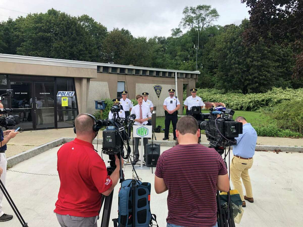 New Haven Mayor Justin Elicker speaks at a press conference Wendesday in which city officials urged people not to come to New Haven for the upcoming East Coastin' motorcycle event.
