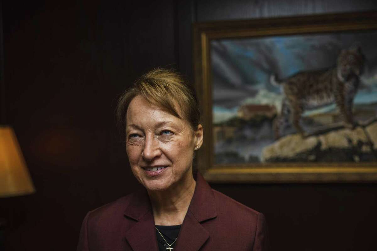 Texas State University President Denise Trauth, seen Tuesday in her office at Texas State University in San Marcos, will retire by the spring after nearly 20 years at the helm.