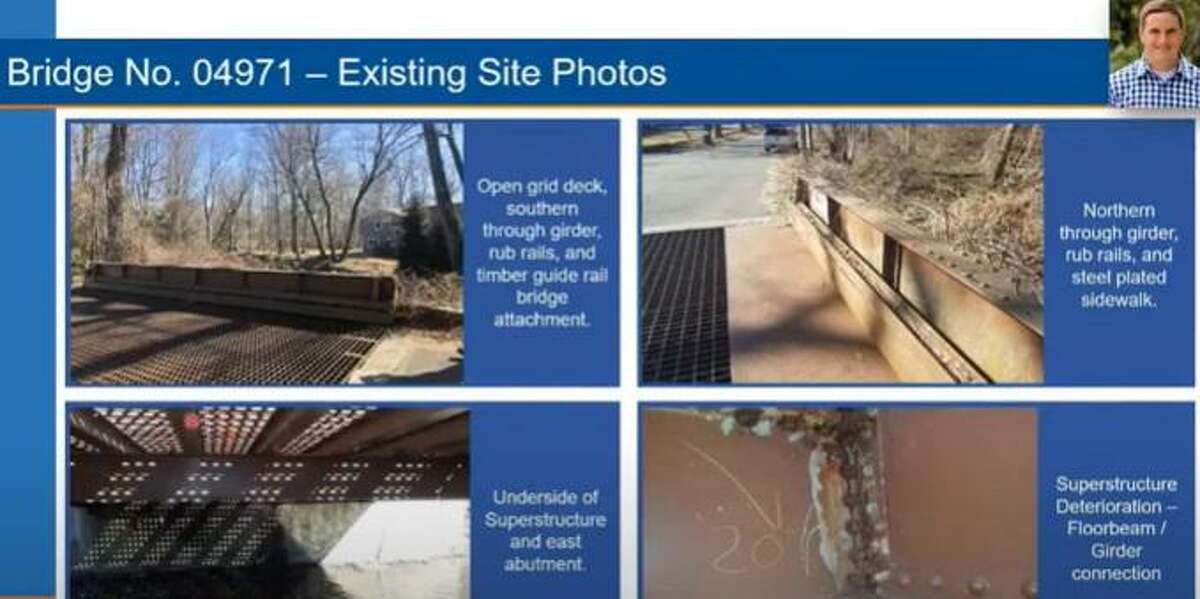 Screenshot of an online public meeting hosted by the Connecticut Department of Transportation to discuss the replacement of a bridge over Sasco Brook, connecting Westport and Fairfield.