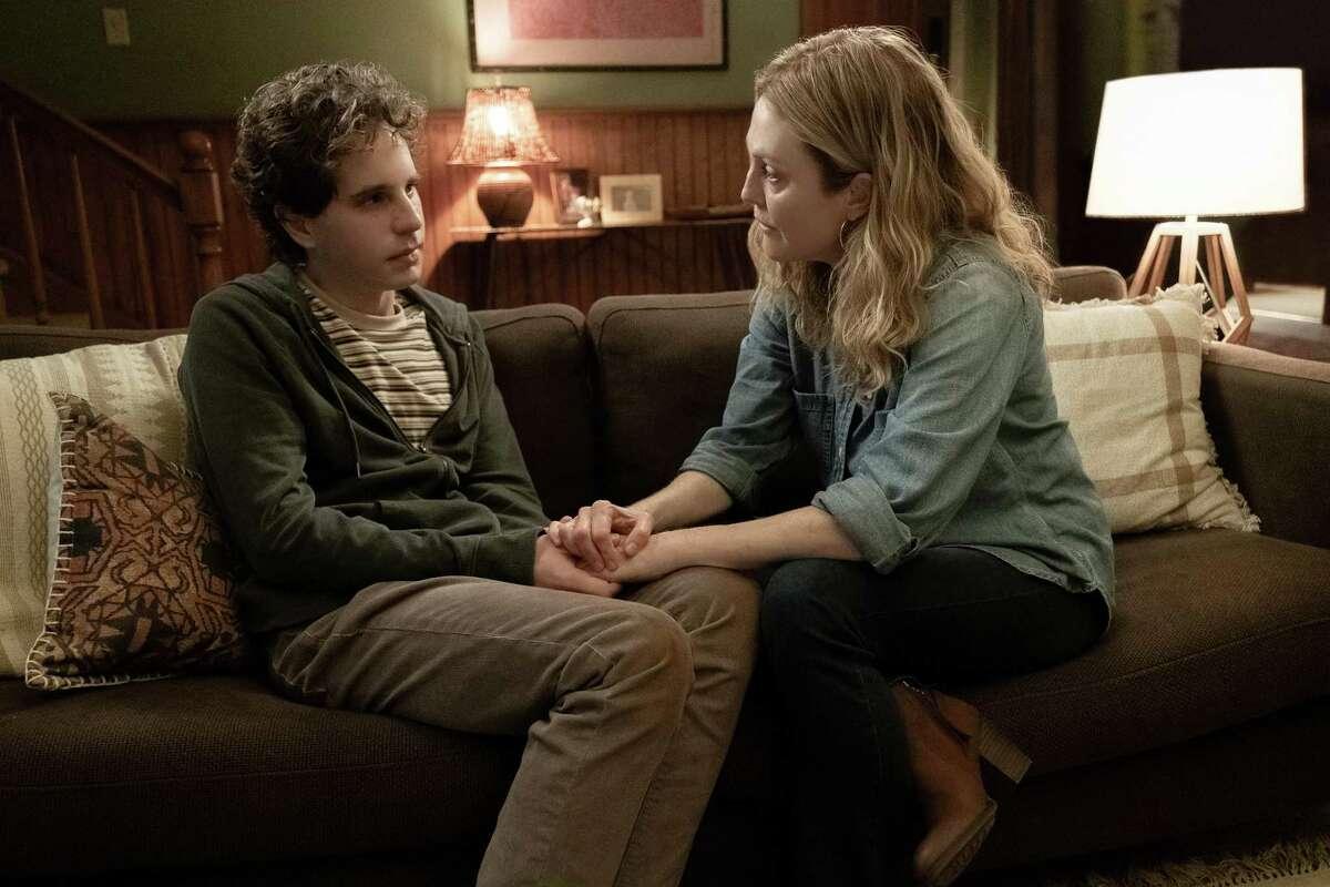 """Ben Platt, left, and Julianne Moore in """"Dear Evan Hansen."""""""
