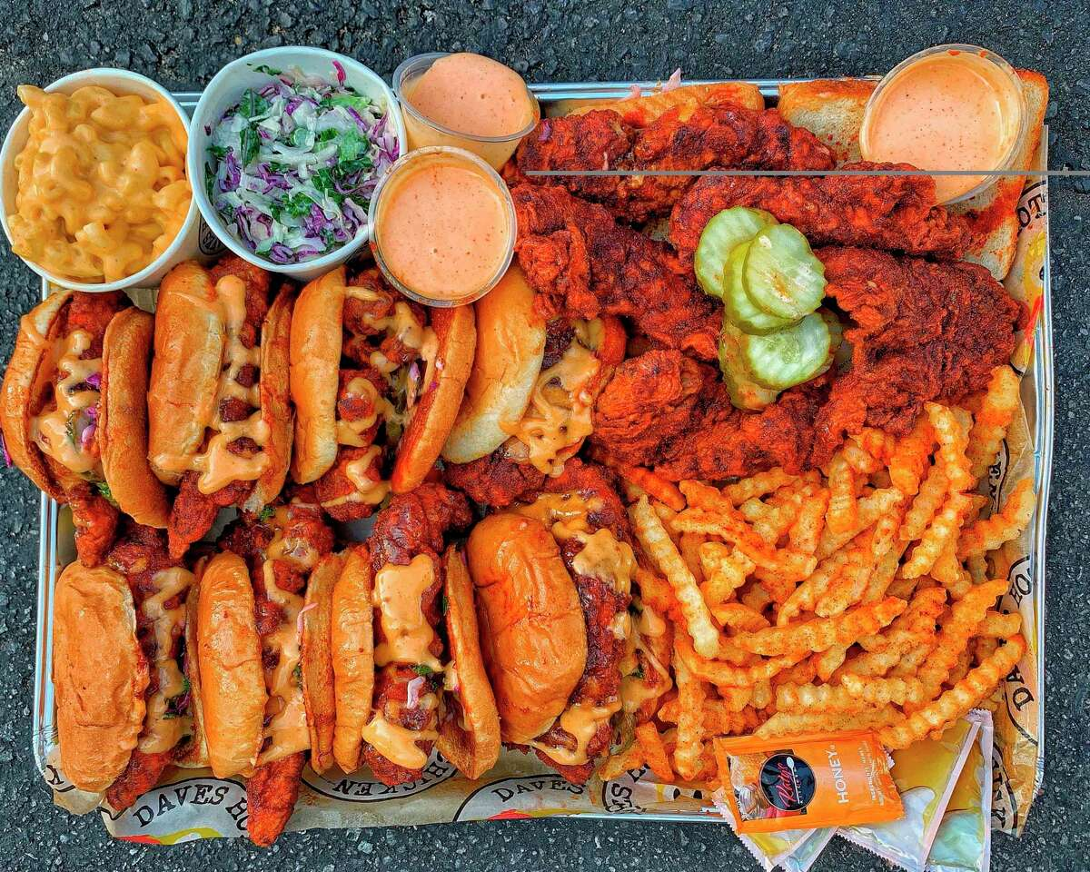 Spicy fried chicken tenders, sliders and sides from Dave's Hot Chicken.
