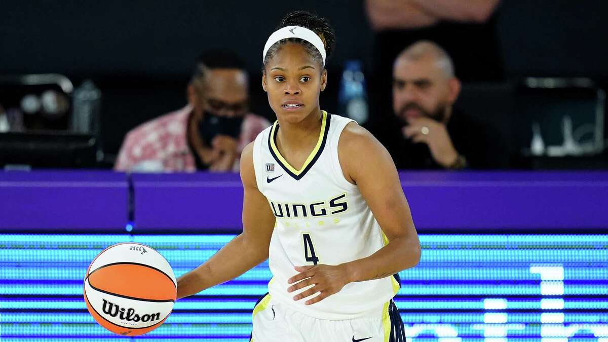 Dallas Wings guard Moriah Jefferson (4) controls the ball during a WNBA basketball game against the Los Angeles Sparks Friday, May 14, 2021, in Los Angeles.