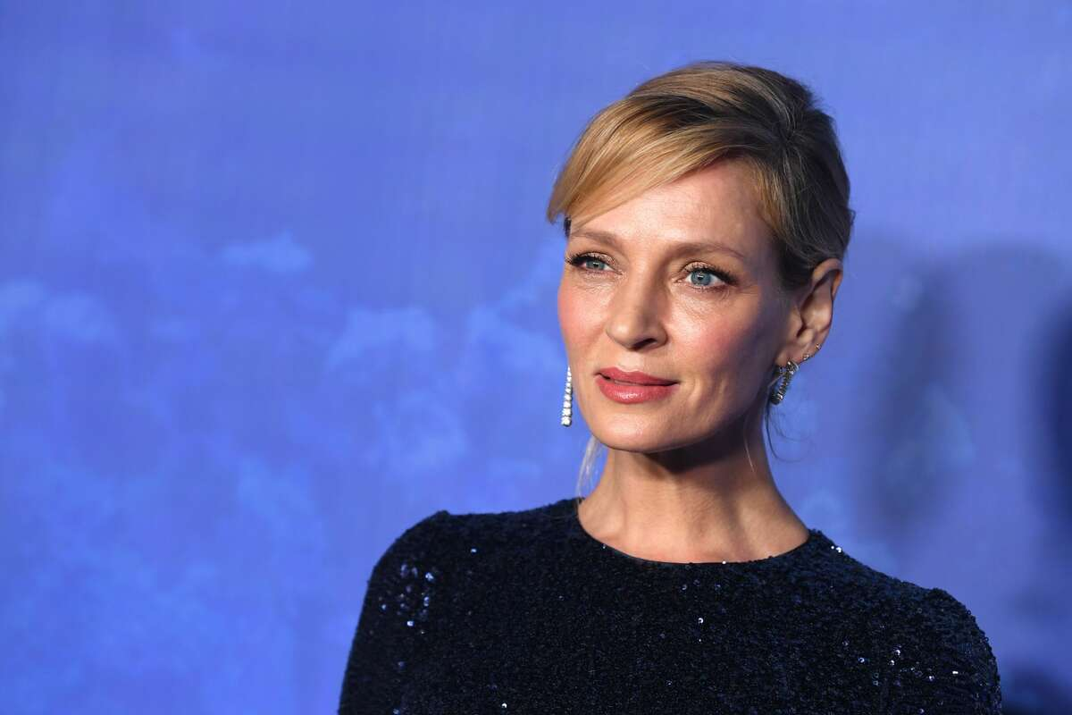 Uma Thurman arrives at the 2020 Hollywood For The Global Ocean Gala Honoring HSH Prince Albert II Of Monaco at Palazzo di Amore on Feb. 6, 2020 in Beverly Hills, California.