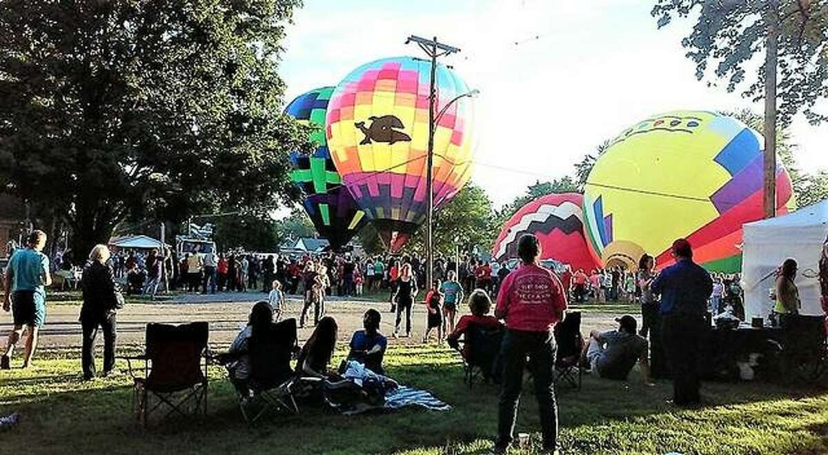 Hot air balloons are photographed in Marine for a hot air balloon event in 2016. This year's event is Sept. 24-25 in Marine Village Park, 155 N. Duncan St.