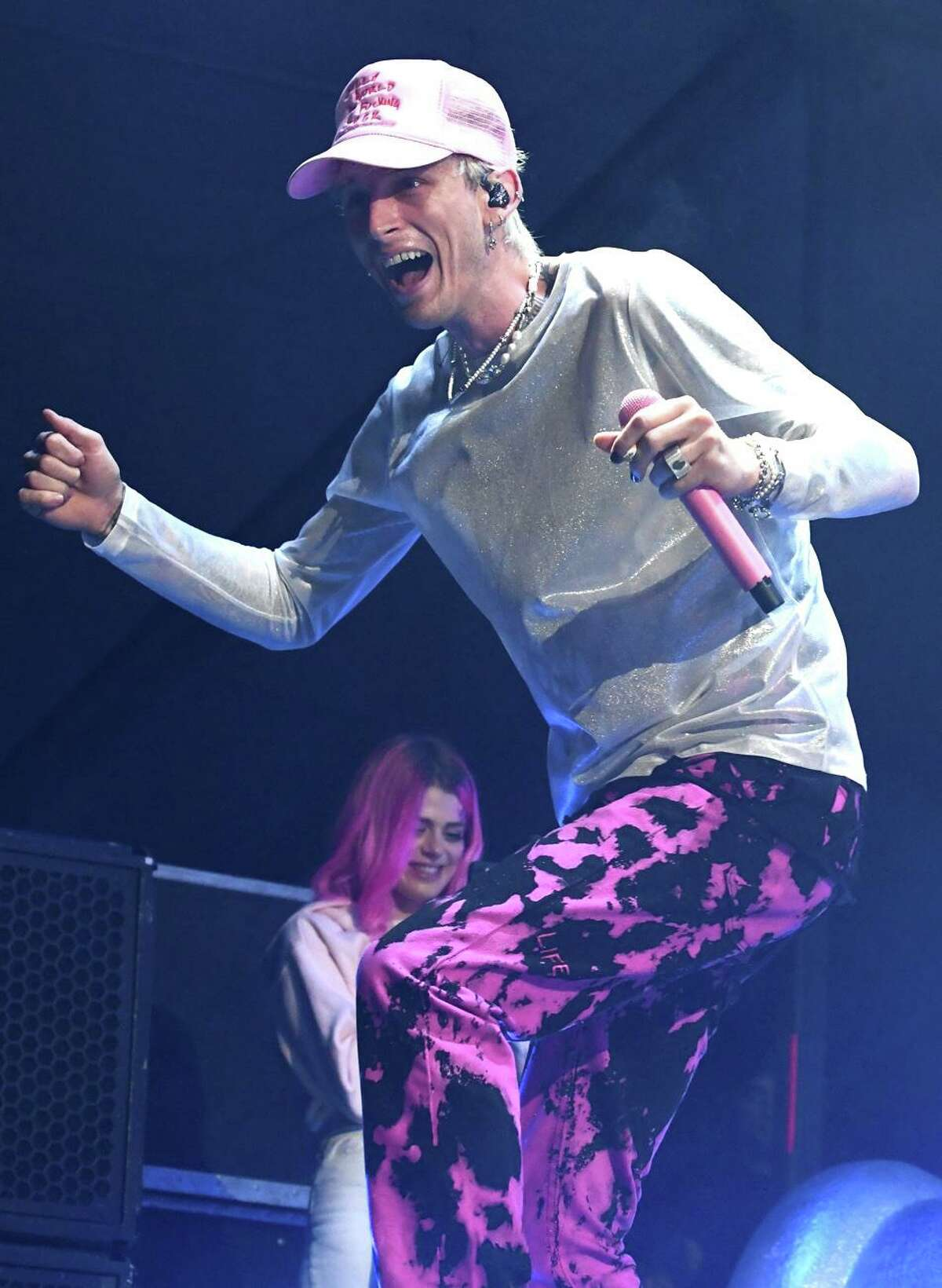 """Rapper, singer, songwriter, and actor Colson Baker, known professionally asMachine Gun Kelly is shown performing to a sold out crowd on the opening night of The Big E in West Springfield, Massachusetts September 17, 2021. MGK released his latest album, """"Tickets to My Downfall"""", in 2020. It debuted at number one on the Billboard 200, the only rock album to do so that year, and contained the single """"My Ex's Best Friend"""". To learn more about MGK you can visit www.machinegunkelly.com"""