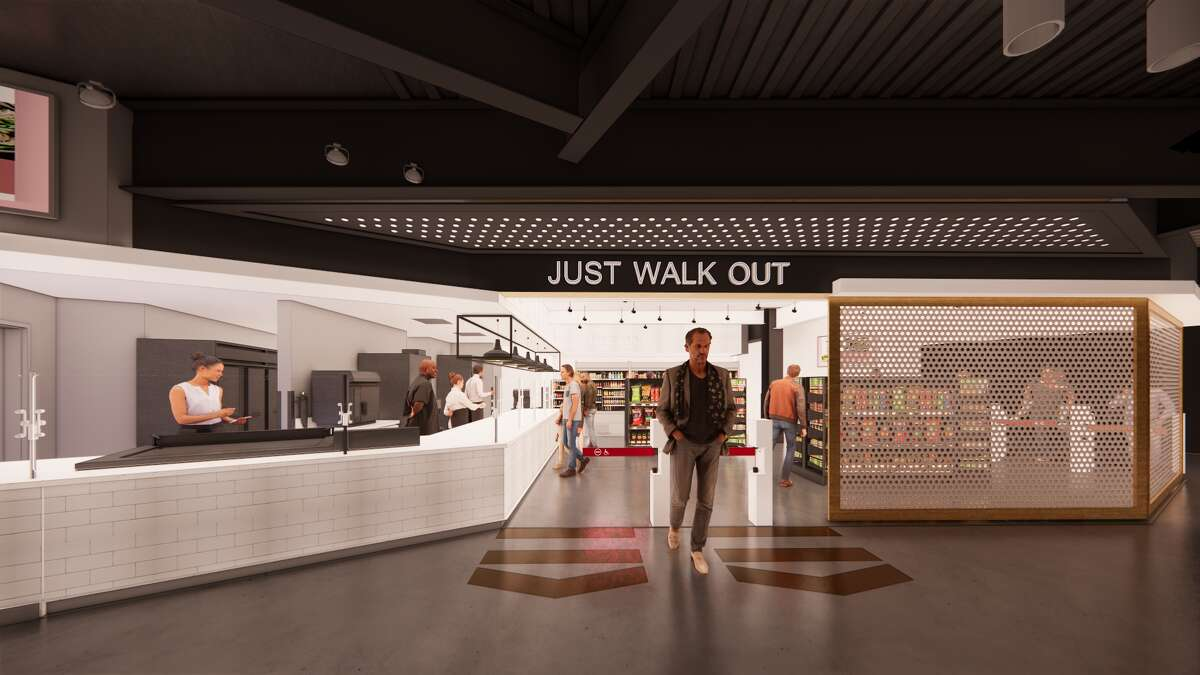 A rendering of what fans can expect of Amazon's Just Walk Out-enabled shopping locations inside Climate Pledge Arena.