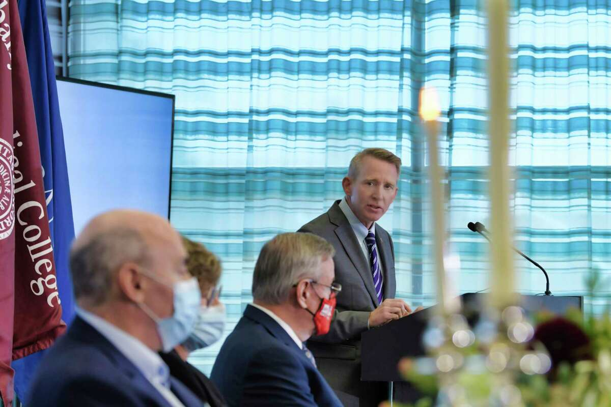Dr. Dennis McKenna, president and CEO of Albany Med, speaks at the award ceremony for the Albany Medical Center Prize on Wednesday, Sept. 22, 2021, in Albany, N.Y. The 2021 prize was awarded to Barney Graham, M.D., Ph.D., Katalin Karikó, Ph.D., and Drew Weissman, M.D., Ph.D.