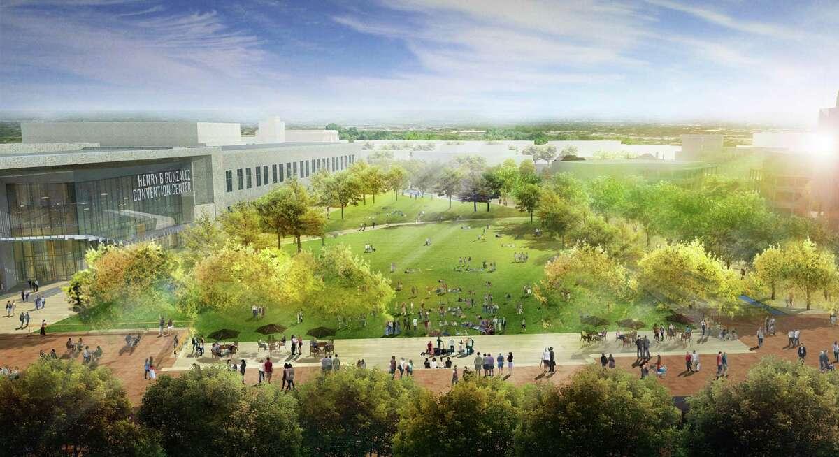 Renderings of the Civic Park planned at Hemisfair.