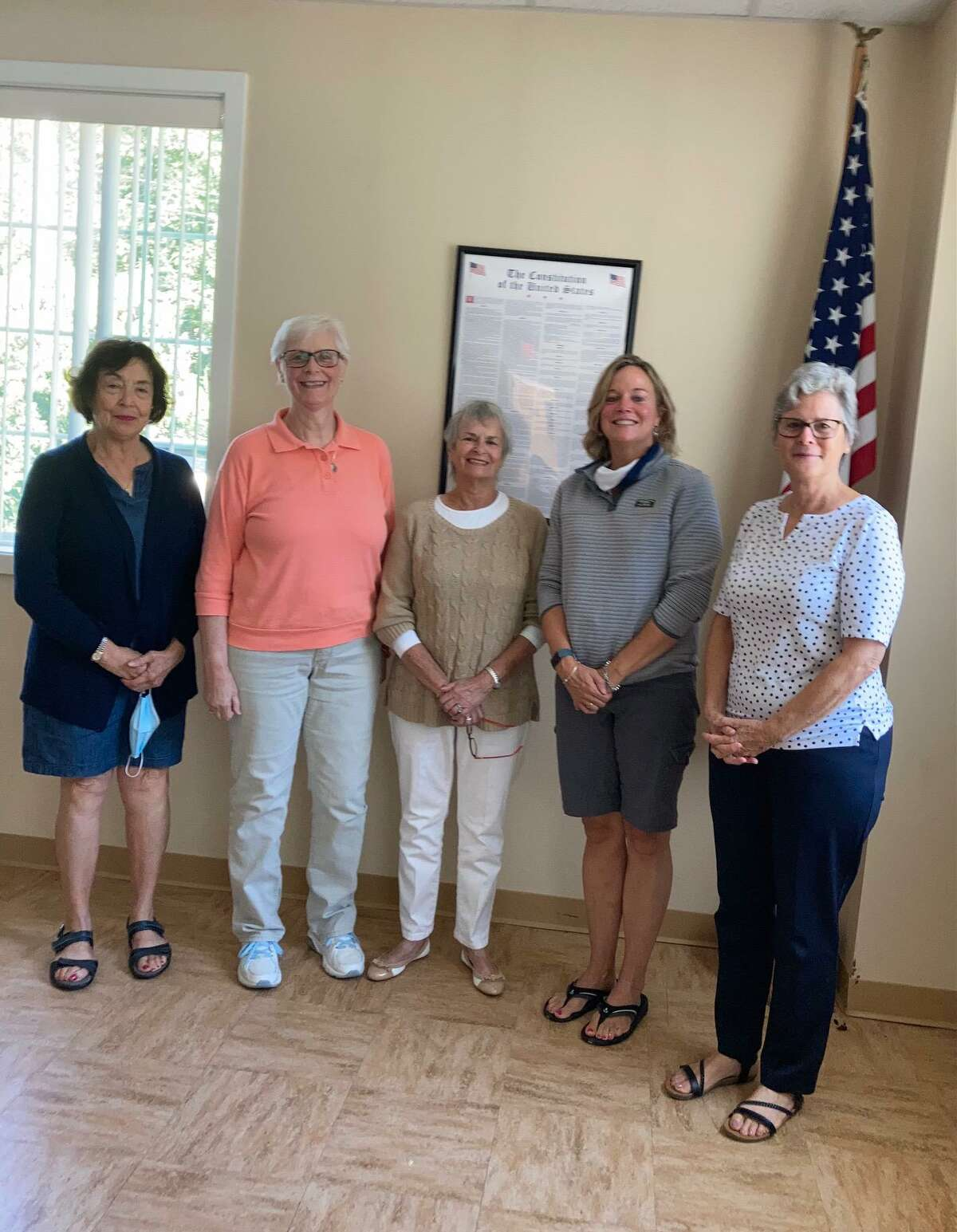 Members of the Brooks - Green Woods Chapter of The Daughters of the American Revolution welcomed new members at their first in-person meeting of the year, held Sept. 11. The new members are Donna Vincenti, Victoria Elliot, Elaine Sederquist, Erik Thomas, Jacque Schiller, Courtney Kane, Megan Keefe and Lynne Dezzani. Pictured are Sederquist, Hulbert, Chapter Registrar, Lynne Dezzani, Keefe, and Donna Colavecchio, Chapter Regent.