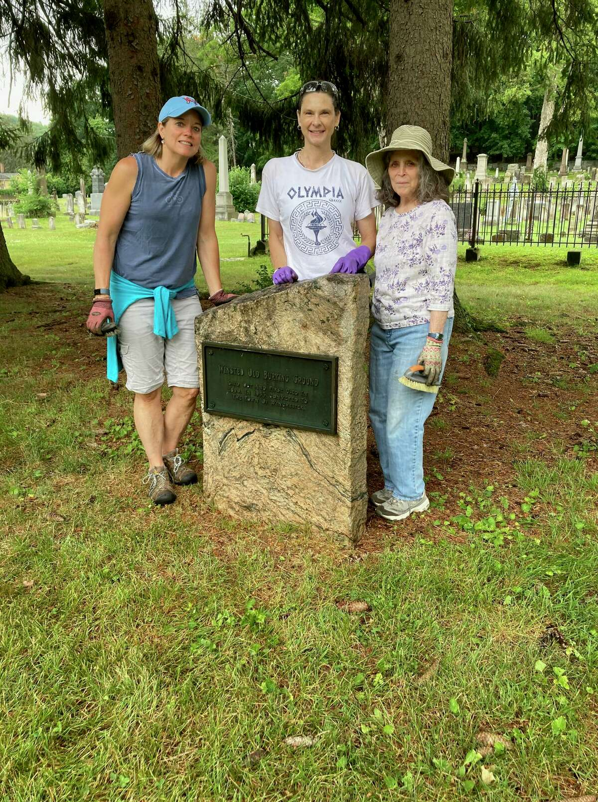 Members of the Brooks - Green Woods Chapter of the Daughters of the American Revolution spent a day cleaning the Winchester Revolutionary War Memorial historical marker, along with the Winsted Old Burying Ground marker, both located in Center Cemetery.