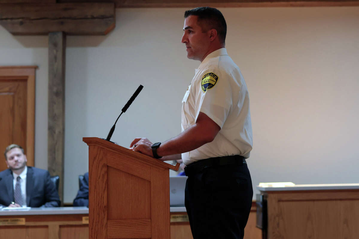 Manistee City Police Chief Josh Glass talks to City Council about saftey concerns at Manistee Middle/High School at Tuesday's City Council meeting.