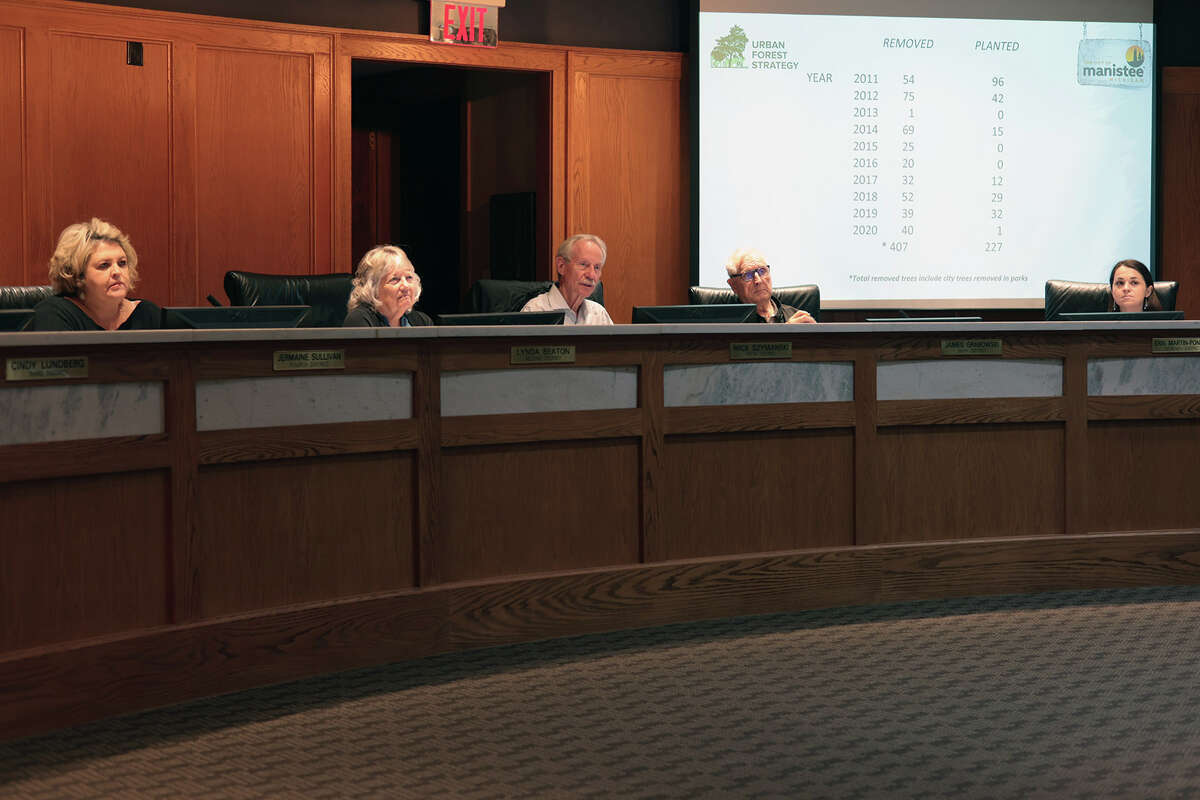 City Council listens to John Helge of the Tree Commission explain the purpose of their existence, what it has been doing and what the commission's plans are for the future.