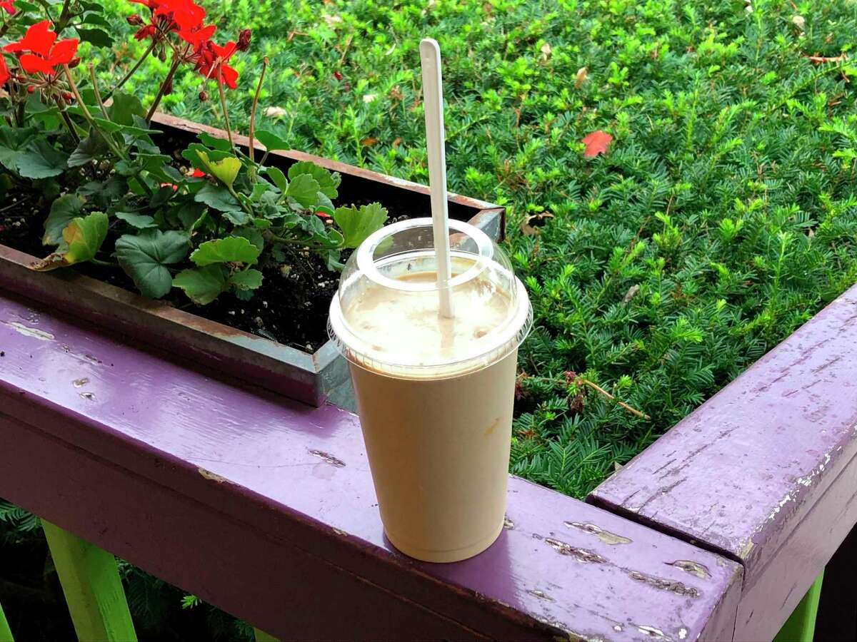 Any of the flavors at Great Lakes Ice Cream Company can be made into a shake. This particular shake is made from Soo Locks Swirl which combinescookie butter, ribbons of caramel and Biscoff cookies (whole cookies as well as pieces). (Victoria Ritter/vritter@mdn.net)