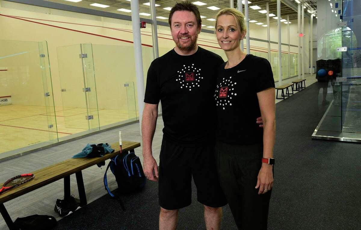 MSquash owners Shaun Moxham and Katline Cauwels, in their new squash facility in the former Lillian August outlet building.