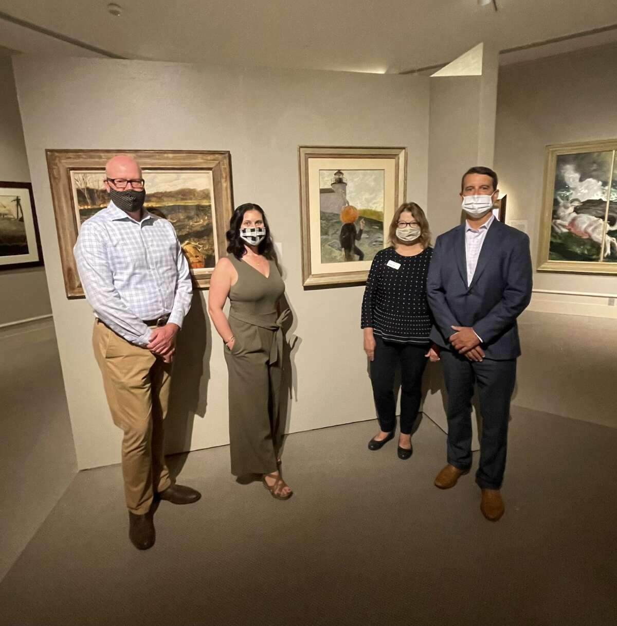 Left to right: Douglas McCombs, chief curator, Albany Institute of History & Art; Jillian Pasco, senior vice president of Albany/Hudson Valley market executive at Bank of America; Tammis K. Groft, executive director, AlbanyInstitute of History & Art; David Cornell, president, Bank of America Albany/Hudson Valley at the exhibitionThe Wyeths: Three Generations | Works from the Bank of America Collection, running through Jan. 2. (©2021 Jamie Wyeth / Artist Rights Society (ARS), New York)